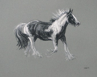 SALE Original art horse art equine art energy and movement charcoal and chalk horse sketch 'Glee I' by H Irvine