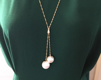 Lariat, Pearl Lariat, Pearl Necklace Charm, Gold and Pearl Lariat, Gift for her, Dual pearl charm necklace, Long necklace