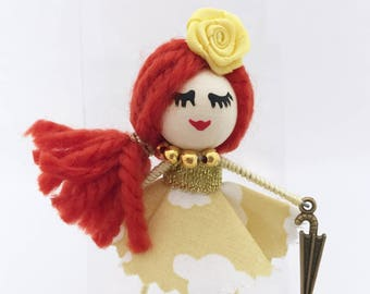Brooch Doll with Clouds - Brooch with Clouds Doll - Cloth Brooch - Brooch Doll - Brooch with Clouds - Clouds Brooch Doll - Brooch Clothes
