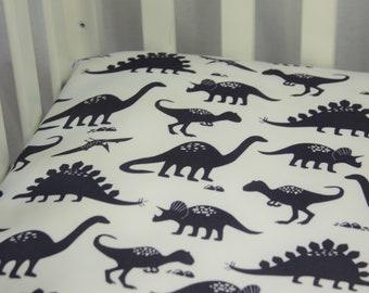 Organic Fitted Crib Sheet / Mini Crib Sheet - Organic Dark Navy Dinosaurs