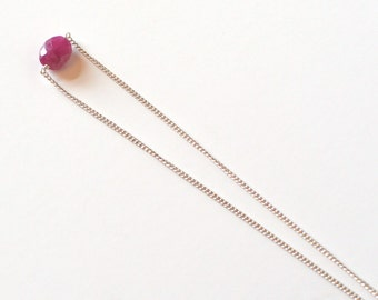 Natural Pink Sapphire with Sterling Silver Necklace as September Birthstone Jewelry