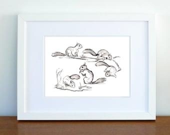 Print, Art Print, Wall Decor, Wall Art, Illustration Print, Ink Squirrel Drawing, Nursery art, Nursery print- print 8x11.5 inch (21x29.5 cm)