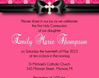 First Communion Invitation - Pink Damask First Communion Invitation - You Print Invite by FabPartyPrints