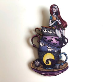 NEW LARGER Teacup Sally - A Nightmare Before Christmas - Laser Cut Wood Brooch