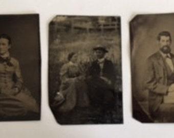 Vintage Tintypes, Set of Three c. 1850s