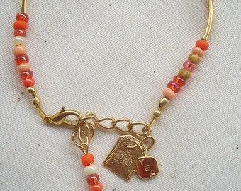 ORANGE BLOSSOM Tea Party Bracelet with Charms