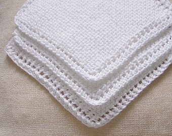 White Cotton Knitted Dishcloths  Washcloths Facecloths, 8 inch Cloths, Set of 3