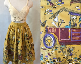 1950s Cotton Print Skirt, mustard with purple and turquoise details, size Small