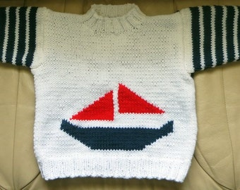 My Little Sailboat Hand Knit Nautical Sweater - Child Unisex Size 4 to 5 - Red White Blue Slipover Sweater Jumper - Hand Made USA Item 3010