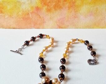Necklace Gold Brown Pearls Swarovski Gift