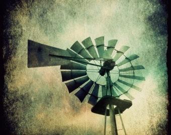 Windmill Art, Windmill Decor, Home Decor, Large Wall Art, Square Print, Blowing West