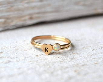Gold Opal Ring- Opal Ring Gold, Small Gemstone Ring, Tiny Opal Ring, Heart Ring Gold, Stacking Ring, Personalized Ring, Stacking Ring Gold