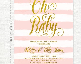 baby sprinkle invitation girl, sprinkle baby shower pink and gold, stripes sprinkle shower digital invitations, printable oh baby invite 216