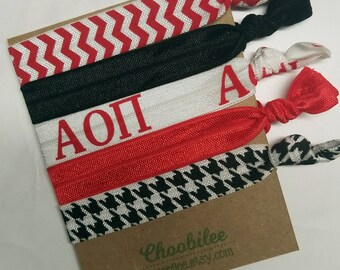 AOII Hair Ties - Alpha Omicron Pi Elastic Hair Ties