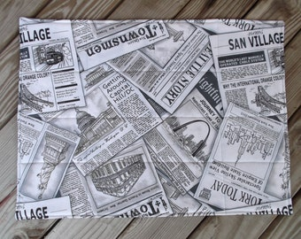 Newspaper fabric placemats, quilted placemats, handmade placemats, table decor, set of 8, grey print