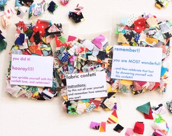 Fabric Confetti - Self Celebration!! Recycled fabric. Rainbow love. Appreciation gift. Cute quirky present. Achievement. Thank you gift.