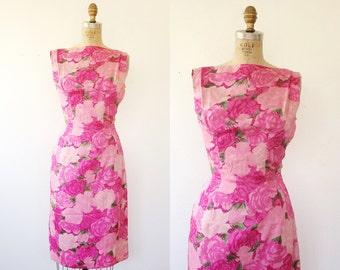 1950s dress / Pink Silk dress / Suzy Perette dress