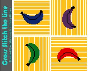Modern minimalist cross stitch pattern. Contemporary embroidery chart. Pop art design perfect for kitchen decor. Fun bananas.