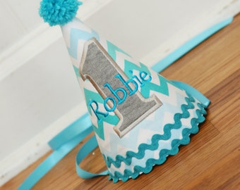 Ombre birthday decor - Party Hat - First birthday hat - Aqua ombre chevron - Free personalization