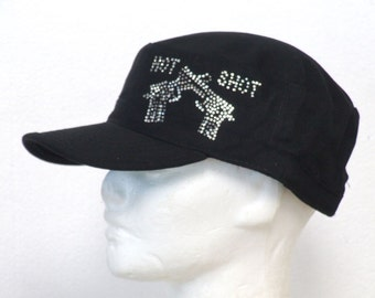 Military black hat, hot shot guns & rhinestones, guns on caps, rhinestone guns, baseball cap, bling caps, military bling cap, gun rights hat