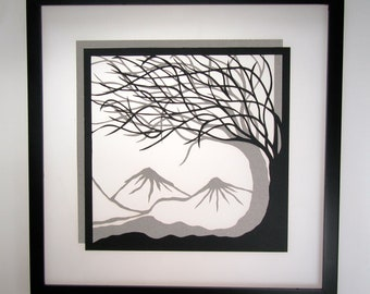 1st ANNIVERSARY Trees Of Life Silhouette Paper Cut w/ Two Layers of Black and Beige. SOLD to Pat. Original Handmade Framed Signed OOAK