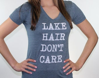 Lake shirt.  Fitness apparel. Womens workout. Lake hair don't care. v-neck tshirt. Gift for runner. Fitted shirt. graphic tees for women.