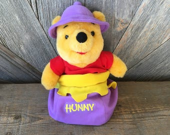 Vintage Winnie the Pooh Honey Pot Stuffed Pooh Toy {Disney Mattel 90s} 9 Inches Plush Stuffed Animal Bear Honey Pot Easter Basket Stuffer