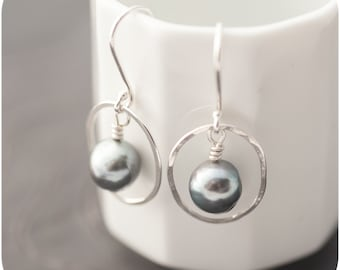 South Sea Pearl Drop Earrings in Sterling Silver with Saltwater Pearls