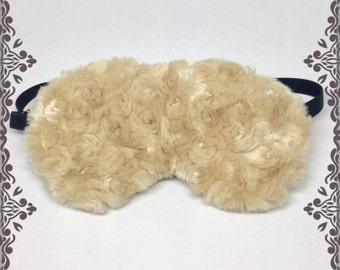 Fluffy Size Adjustable Eye Mask. Divine Genuine Minky Faux Fur Sleep Mask in Camel. Beige Soft Blindfold. Washable Eyemask. For Ladies