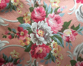 Peach, Pink Cabbage Roses/Tulips, Blue & Gray Barkcloth Panel