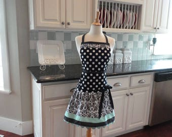 Seaside Damask ~ READY to SHIP - Ellie Style Women's Apron ~ 4RetroSisters
