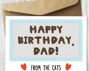 Funny Printable Birthday Card from The Cats, Birthday Card for Him Digital Download, Gross Birthday Card for Cat Dad, Card For Husband