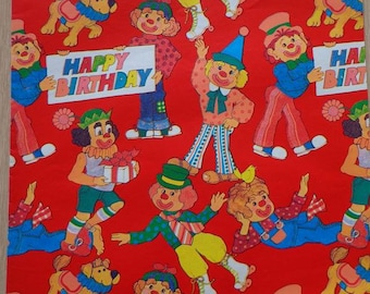 Vintage 1970s Happy Birthday Wrapping Paper--1 Sheet Gift Wrap Clowns & Dogs Print