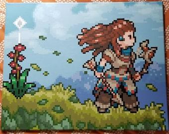 """Horizon Zero Dawn Aloy pixel painting 16""""x20"""""""