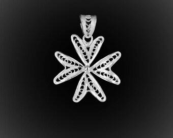 The Malta cross pendant in silver embroidery