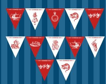 Alice in Wonderland Teatime rouge et blanc décoratif banderoles imprimables