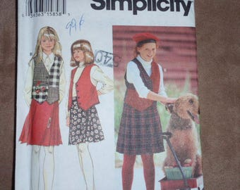Simplicity 9148 Girls and Plus Skirt and Vest Size 7 to 14 and 8 1/2 to 16 1/2  New Uncut