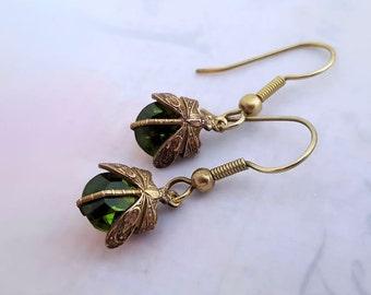 Olivine dragonfly earrings,  insect earrings Art Deco earrings drop earrings dragonfly jewelry Czech vintage glass earrings gift for her