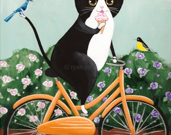 Spring Tux Cat on a Bicycle 9 x 12 - Original Folk Art Painting