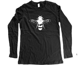 bee - womens longsleeve bee shirt - bee longsleeve- organic clothing - cotton - small - medium- large - xl - 2XL