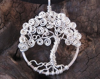Love Tree of life pendant - Made to order- sterling silver - whimsical - With your personalized word - your choice, mothers day gift