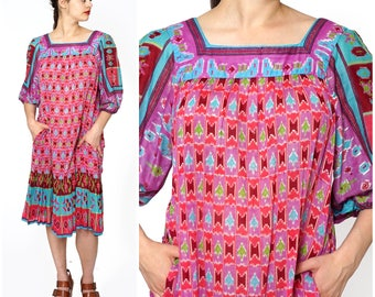 Vintage 1970s Bright Pink Boho Printed Indian Cotton Muumuu Dress by Sandy Starkman | Medium