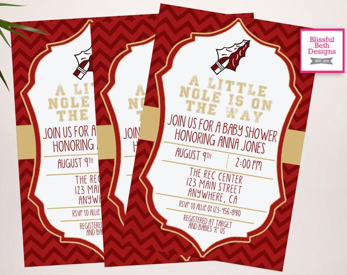 Garnet and Gold Baby Shower Invitation,  Baby Shower Invite, Noles Shower, Football Baby Shower