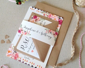 Floral Rustic Bloom Wedding Invitation with matching RSVP - SAMPLE