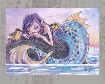 MerMay 2018 Card 10 - Original ACEO, watercolor painting