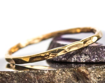 Hammered Gold Stacking Thin Gold Ring