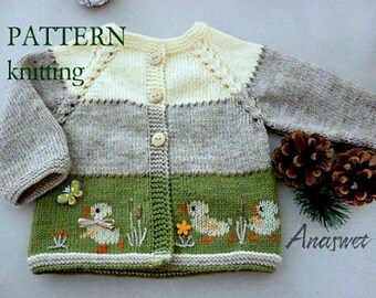 Knitting pattern baby cardigan with ducklings.P005