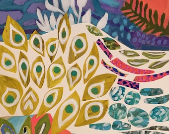 Bohemian Original Cut Paper Painting on 18 x 24 Paper by Karen Fields