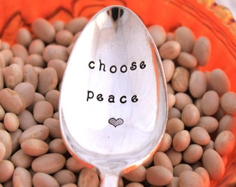 Stamped Spoon Vintage GIFT - choose peace - Radiance 1939 - Ready To Ship & Made in USA -  Christmas Gift Under 20