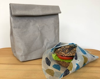 Washable paper LARGE lunch sack / Beeswax Food Wrap / Eco wrap Food Covering / Reusable Eco Food Wrap lunch bag / Plastic free